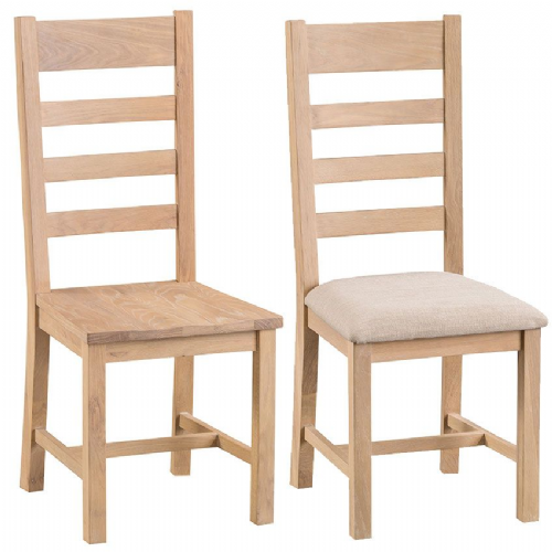 Pair of Lowestoft Oak Ladder Back Dining Chairs
